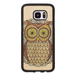 Colorful Owl Illustration Wood Samsung Galaxy S7 Edge Case