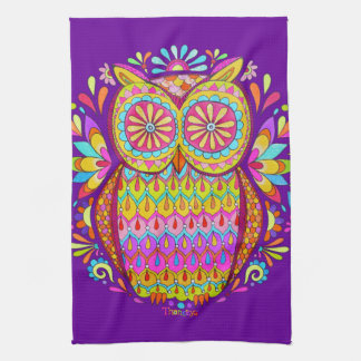 Colorful Owl Kitchen Towel