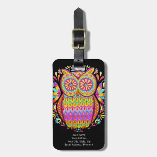 Colorful Owl Luggage Tag - Customize it!