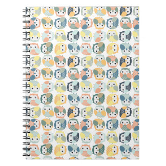 Colorful Owl Pattern - dusty pastels Spiral Notebooks