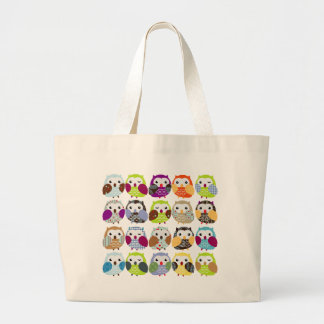 Colorful Owl Pattern Jumbo Tote Bag