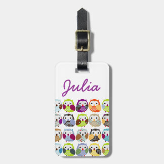 Colorful Owl Pattern Luggage Tag