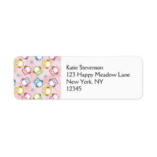 Colorful Owl pattern on a Pink Background Return Address Label