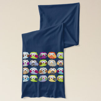 Colorful Owl Pattern Scarf