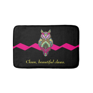 Colorful Owl Pink Black Clean Claws template Bathroom Mat