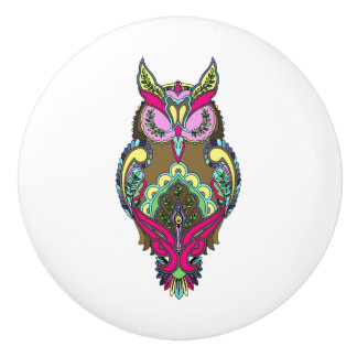 Colorful Owl Pink Yellow Coloring Book template Ceramic Knob