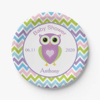 Colorful owl, zigzag pattern baby shower Plate 7 Inch Paper Plate