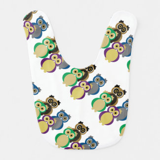 Colorful Owls Baby Bibs