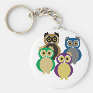 Colorful Owls Basic Round Button Keychain