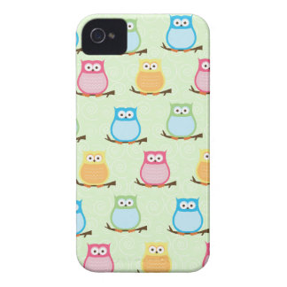 Colorful Owls Blackberry Phone Case - Light Green iPhone 4 Case