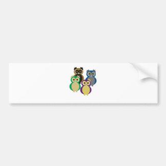 Colorful Owls Bumper Sticker