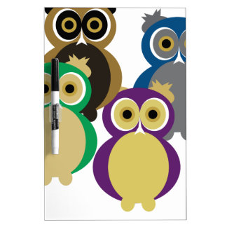 Colorful Owls Dry Erase White Board