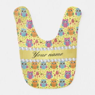 Colorful Owls Faux Gold Foil Bling Diamonds Baby Bib