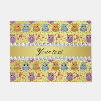 Colorful Owls Faux Gold Foil Bling Diamonds Doormat