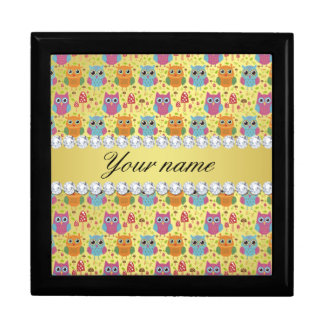 Colorful Owls Faux Gold Foil Bling Diamonds Gift Box