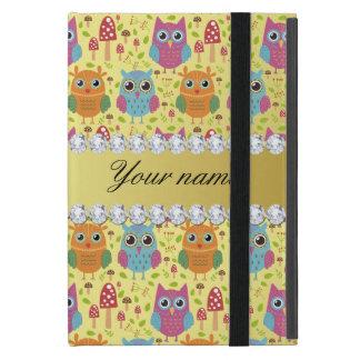 Colorful Owls Faux Gold Foil Bling Diamonds iPad Mini Case