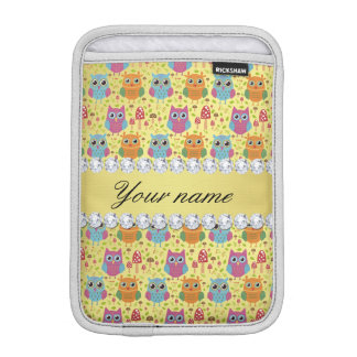 Colorful Owls Faux Gold Foil Bling Diamonds iPad Mini Sleeve