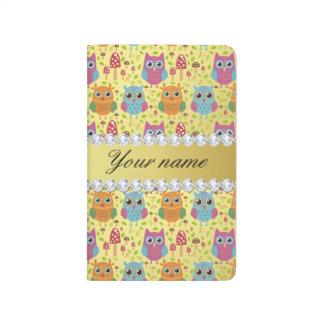 Colorful Owls Faux Gold Foil Bling Diamonds Journal