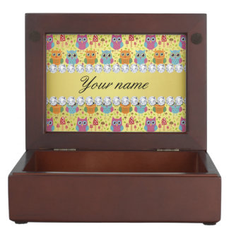 Colorful Owls Faux Gold Foil Bling Diamonds Keepsake Box