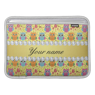 Colorful Owls Faux Gold Foil Bling Diamonds MacBook Air Sleeves
