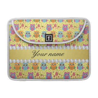 Colorful Owls Faux Gold Foil Bling Diamonds MacBook Pro Sleeve