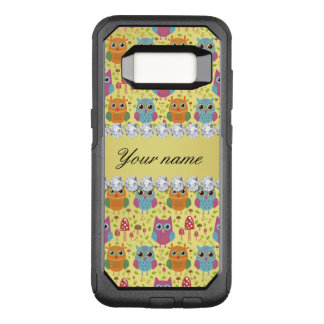 Colorful Owls Faux Gold Foil Bling Diamonds OtterBox Commuter Samsung Galaxy S8 Case
