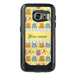 Colorful Owls Faux Gold Foil Bling Diamonds OtterBox Samsung Galaxy S7 Case