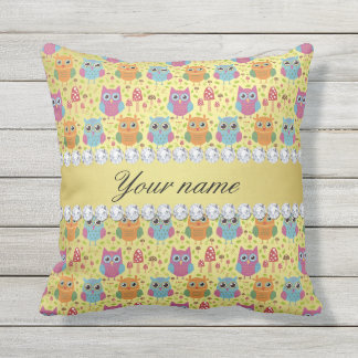 Colorful Owls Faux Gold Foil Bling Diamonds Outdoor Pillow
