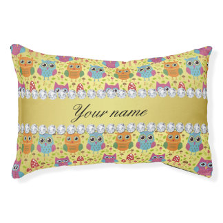 Colorful Owls Faux Gold Foil Bling Diamonds Pet Bed