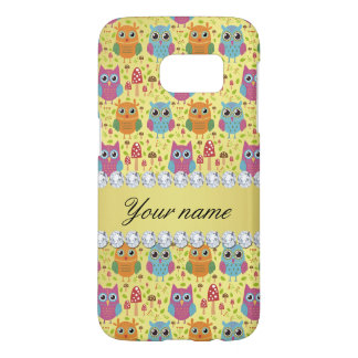 Colorful Owls Faux Gold Foil Bling Diamonds Samsung Galaxy S7 Case