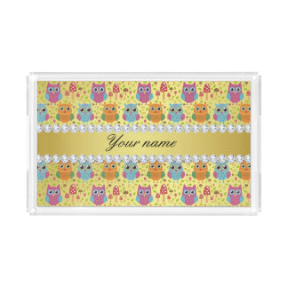 Colorful Owls Faux Gold Foil Bling Diamonds Serving Tray