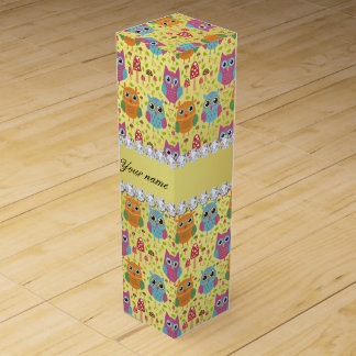 Colorful Owls Faux Gold Foil Bling Diamonds Wine Gift Box