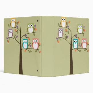 Colorful Owls in Pretty Tree Binder