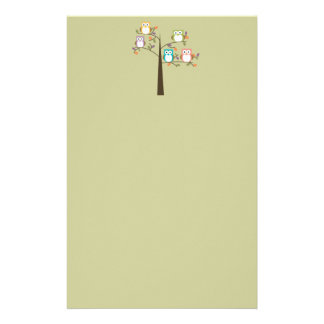 Colorful Owls in Pretty Tree Customized Stationery
