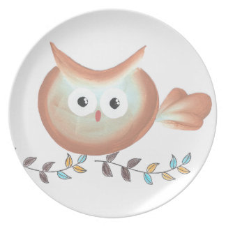 Colorful Owls on a Vine Picture Dinner Plates