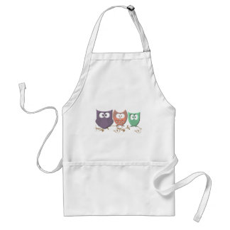 Colorful Owls on a Vine Standard Apron
