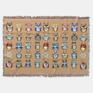 Colorful Owls pattern Throw Blanket
