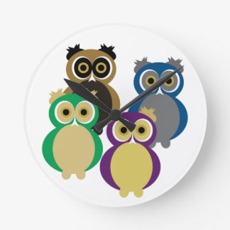 Colorful Owls Round Clock