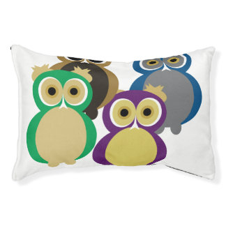 Colorful Owls Small Dog Bed
