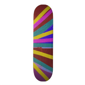 Colorful Paint Doodle Lines Converging Pin Wheel Skateboard Deck