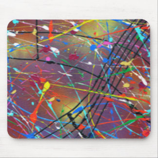Colorful Paint Drizzle Drops Mouse Pad