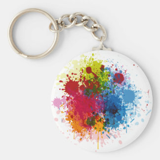 Colorful Paint Splatter Basic Round Button Keychain