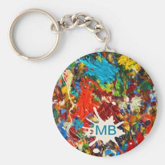 Colorful Paint Splatter Monogram Keychain