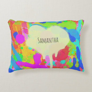 Colorful paint stains accent pillow