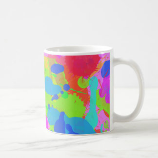 Colorful paint stains coffee mug