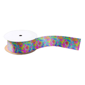 Colorful paint stains satin ribbon