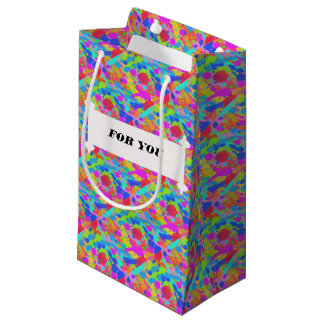 Colorful paint stains small gift bag