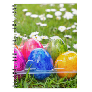 Colorful painted easter eggs in grass with daisies notebook