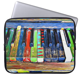 Colorful Painted Piano Keys Artsy Music Tote Bag Laptop Sleeves