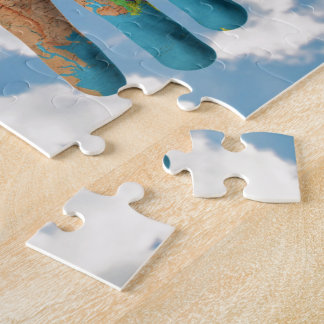 Colorful Painted World Map in Hands, Art Photo Jigsaw Puzzle